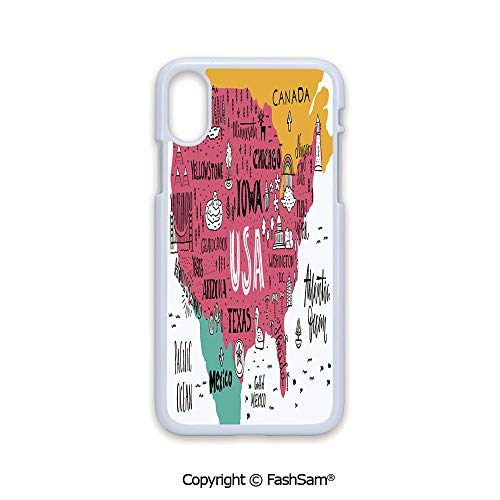 Plastic Rigid Mobile Phone case Compatible with iPhone X Black Edge American Cities Calligraphy on Plan Arizona New York Chicago Cartoon 2D Print Hard Plastic Phone Case (Best Cell Phone Plans Chicago)