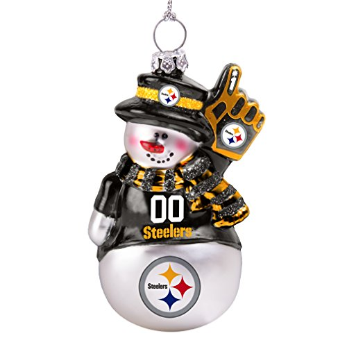 NFL Pittsburgh Steelers Glitter Snowman Ornament