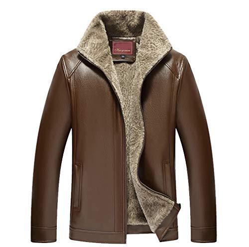 Mode Occasionnelle Cuir Hiver Survêtement Quotidien Color Hommes Velvet Zipper Manteau Veste Deelin Plus Pure Marron Revers Formel En xawI5Xxn6