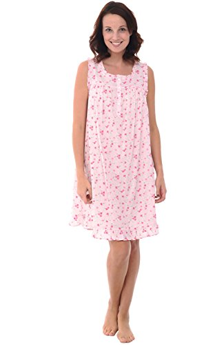 Alexander Del Rossa Womens 100% Cotton Lawn Nightgown, Sleeveless Chemise, XX-Large Pink Flowers (A0580L042X)