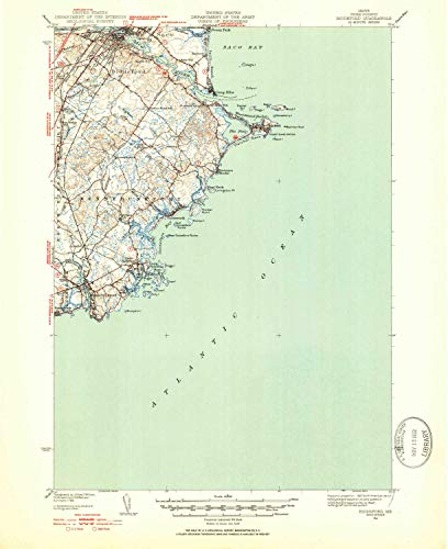 YellowMaps Biddeford ME topo map, 1:62500 Scale, 15 X 15 Minute, Historical, 1941, Updated 1952, 20.8 x 17 in - Paper ()