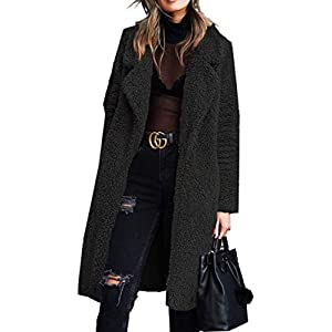 Angashion Women's Fuzzy Fleece Lapel Open Front Long Cardigan Coat Faux Fur Warm Winter Outwear Jackets with Pockets