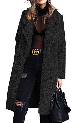 Angashion Women's Fuzzy Fleece Lapel Open Front Long Cardigan Coat Faux Fur Warm Winter Outwear Jackets with Pockets Black M