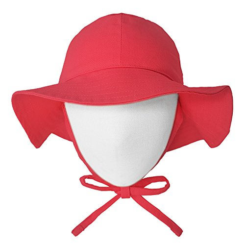 Happy Tree Baby Sun Hat Wide Brim 100% Cotton Toddler Bucket Hat Sun Protection Kids Breathable Sun Cap (Small), Red