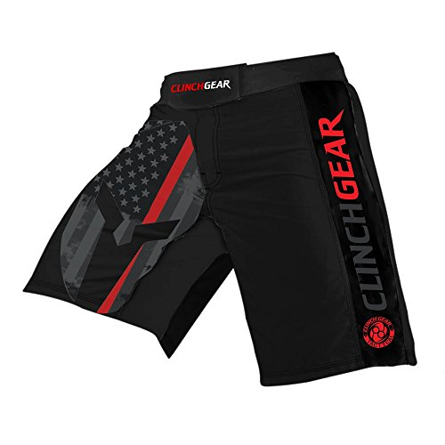 CLINCH GEAR - Pro Series - MMA Shorts WOD Shorts Fight Shorts (Thin Red Line, 30) by Clinch Gear