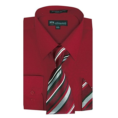 Milano Moda Men's Dress Shirt with Tie/Handkerchief HLSG21A New York - Milano Red Dress