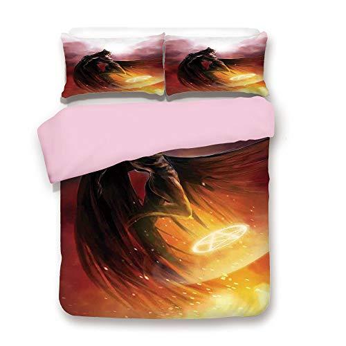 Pink Duvet Cover Set,FULL Size,Superhero in His Original