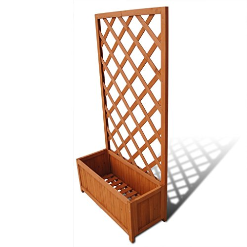 (Outdoor Planter with Trellis Solid Wood Weather-Resistant Perfect for Climbing Plants, Green Plants and Flowers 2' 4