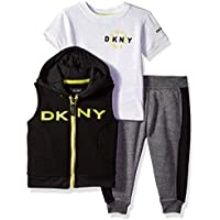 DKNY Baby Boys Knit Shirt, Vest and Pant Set