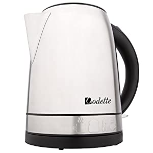 Odette Premium Stainless Steel 7 Cup (1.7 Liter) Fast Boil Cordless Electric Kettle with Auto Shut Off and Boil Dry Protection