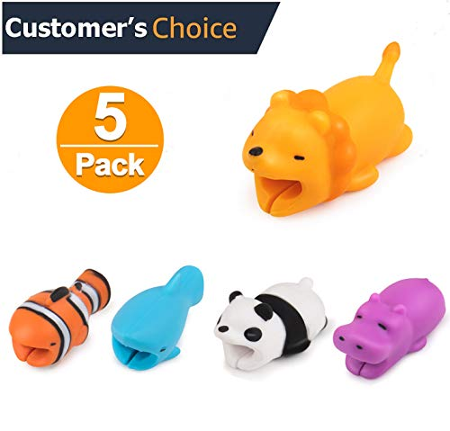 KUMEEK 5PCS Cute Animal Cable Bites Compatible for iPhone Cable Bite Cord Data Line Protector Charger Saver Cable Chewers Cable Cell Phone Accessories (Hippo+Joker+Shark+Panda+Lion) (Usb Charger Cover)