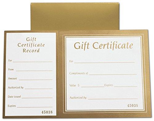 Metallic Gold Square Gift Certificates w/Folder, 8 x 5