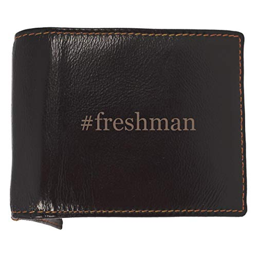 #freshman - Soft Hashtag Cowhide Genuine Engraved Bifold Leather Wallet