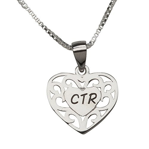 Sterling Silver CTR Heart Necklace for Girls Baptism (14 inch) (Ctr Owl Necklace)