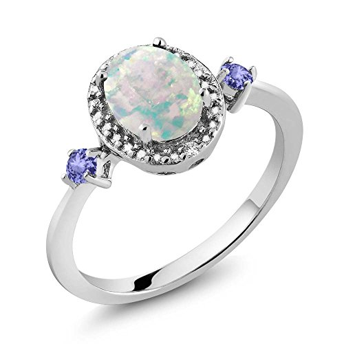 1.22 Ct Oval Cabochon White Simulated Opal Blue Tanzanite 925 Sterling Silver Ring With Accent - Radiant Ct 1.22 Diamond