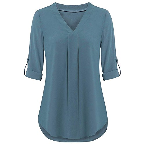 - Hot!Aniywn Womens V Neck Long Sleeve Roll-up Top Casual Layered Solid Color Shirt Blouses