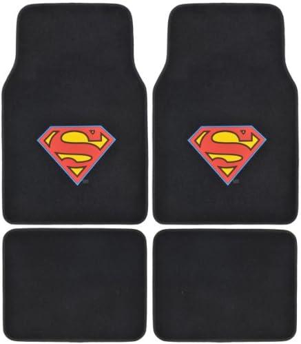 A Set of 4 Universal Fit Plush Carpet Floor Mats for Cars / Trucks – Superman…