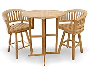 "Windsor's Genuine Grade A Teak 39"" Round Dropleaf Counter Table w/2 Kensington Curved Arm Swivel Counter Chairs,-Counter height is 5"" lower then bar height-5 Year Wrty, World's Best Outdoor Furniture!"