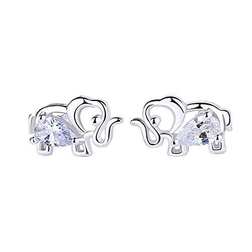 Diane Lo'ren 18K White Gold Plated Crystal Stud Earrings White Gold (Elephant)