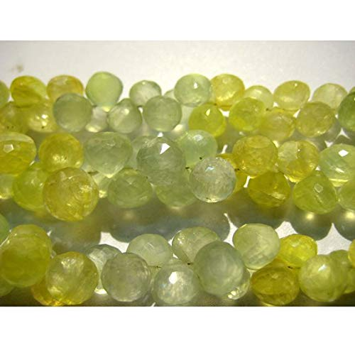 Super Quality Gemstone Beautiful Jewelry Prehnite Beads, Onion Briolettes, Faceted Beads - 8mm Beads - Wholesale Price - 8 Inch Full Strand Code-JP-3777   B07KVVT5BW