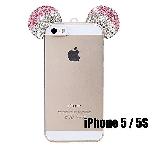 iPhone 5/5S/SE/6/6S/6+/6S PLUS Case, 3D Mickey & Minnie Mouse Crystal Diamond Bling Rhinestone Ears Clear TPU Rubber Silicone Cover with Lanyard & Stylus Pen (iPhone 5/5S)
