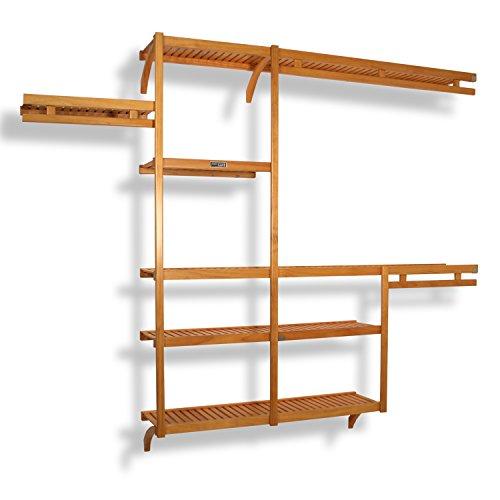 JLH-522 Standard 12-Inch Depth Closet Shelving System, Honey Maple