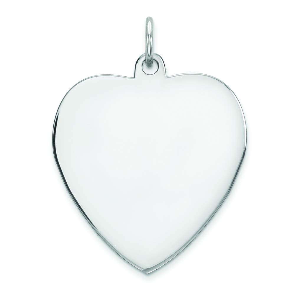 Sterling Silver Engravable Heart Polished Front and Back Disc Charm Pendant