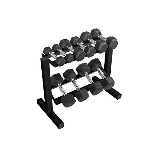 CAP Barbell 150-lb Hex Dumbbell Weight Set with Horizontal Rack