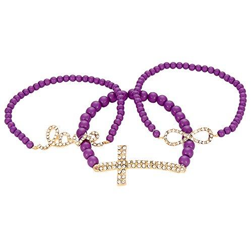 Infinity Beaded Stretch Bracelet - Rhinestone Cross, Infinity, Love Bracelet Plastic Beaded Religious Costume Stretch Wrap Jewelry, Pack of 3 (Purple)