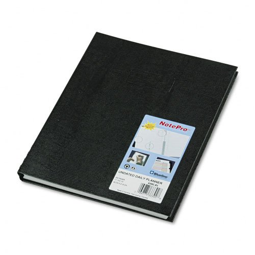 Notepro Undated Daily Planner (Blueline : NotePro Undated Daily Planner, 11 x 8-1/2, Black -:- Sold as 2 Packs of - 1 - / - Total of 2)