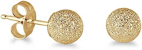 14K Yellow Gold 5mm Laser Cut Ball Stud Earrings