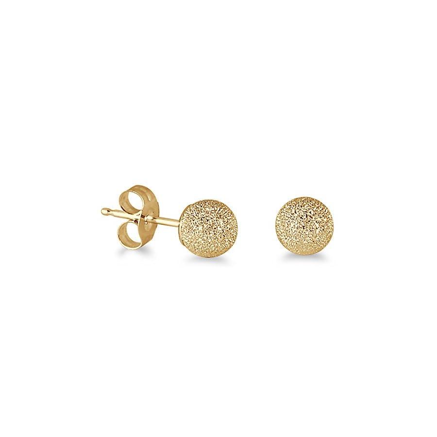 14K Yellow Gold 5mm Laser Cut Ball Stud Earrings