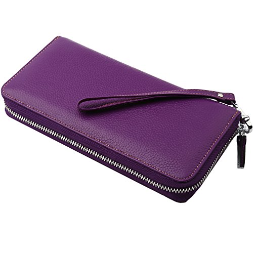 Women's Real Wallet Travel Rfid Large Size Blocking Purse Purple Around Clutch Dante Leather Wristlet Zip ARZdqAntg
