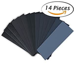 14 Pcs Wet Dry Sandpaper 120 to 3000 Grit Assortment 9 3.6 Inches for Automotive Sanding Wood Furniture Finishing