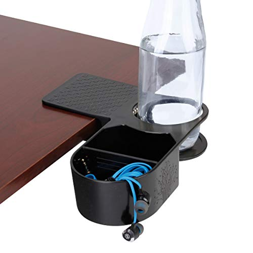ENHANCE Clip On Desk Cup Holder - Desktop Organizer Clamp with Tray - Drink & Accessory Storage with Metal Spring & Divider - Ideal for Chairs & Tables - Holds Phones, Office Supplies & Snacks
