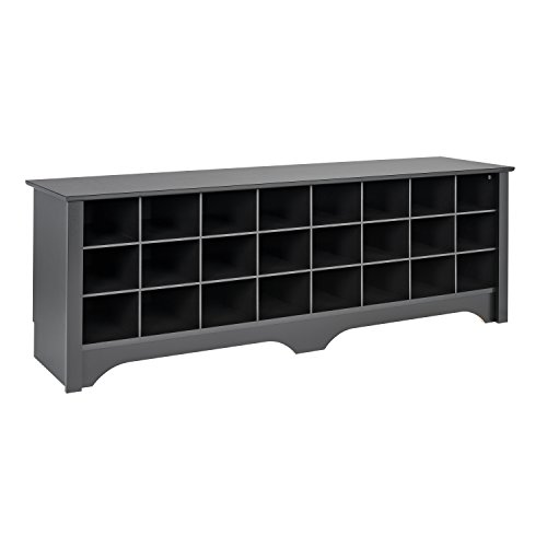 (Prepac BSS-6020 24 Pair Shoe Storage Cubby Bench Black)