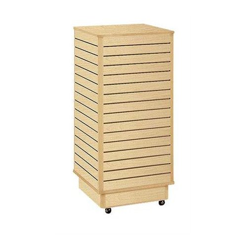 Retails Maple Finished Slatwall Tower with Rolling Base 24''l X 24''w X 54''h by Slatwall with Rolling Base