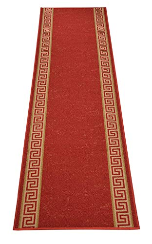 - RugStylesOnline Custom Runner Meander Roll Runner 26 Inch Wide x Your Length Size Choice Slip Skid Resistant Rubber Back 3 Color Options (Red, 12 ft x 26 in)