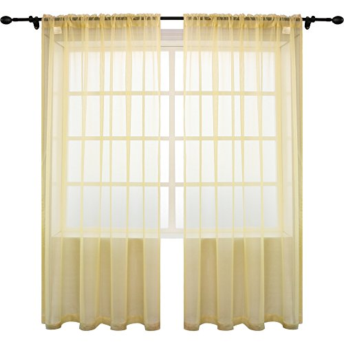2 Piece Set Bedroom Set - KEQIAOSUOCAI 2 Pieces Solid Color Rod Pocket Sheer Curtains Panels for Bedroom Living Room(Cream Yellow,52Wx84L,Set of 2)