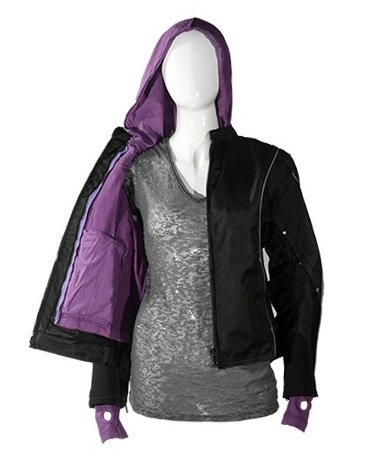 Women's Textile Jacket with Purple Hoodie and Reflective Piping (Size 4XL, ()