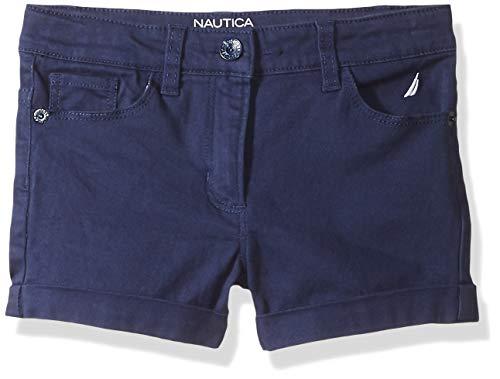 (Nautica Big Girl's Girls' Solid Woven Short Shorts, twill navy, 12)