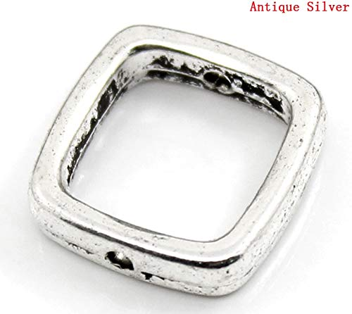 Mercury_Group, Handmade Jewelry_Zinc Metal Alloy Beads Frames Square Antique Silver (Fits 10mm Beads) 14mm(4/8