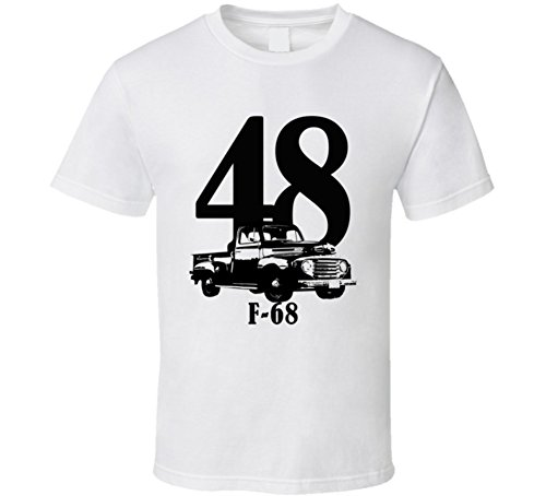 1948 Ford 68 F100 Three Quarter View with Year and Model Name White T Shirt XL White