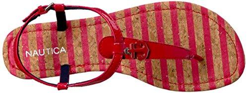 Mujer Nautica Sandalia Fiddle Plana Rojo 2 para UC4Cqx