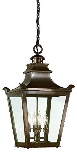 Troy Lighting Dorchester 4-Light Outdoor Pendant - English Bronze Finish with Clear Glass by Troy (Dorchester Glass)