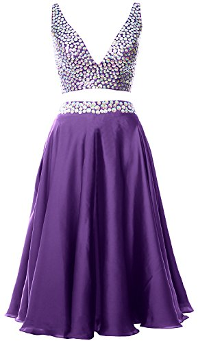 MACloth Women 2 Piece Short Prom Dress 2017 Straps V Neck Cocktail Formal Gown Morado