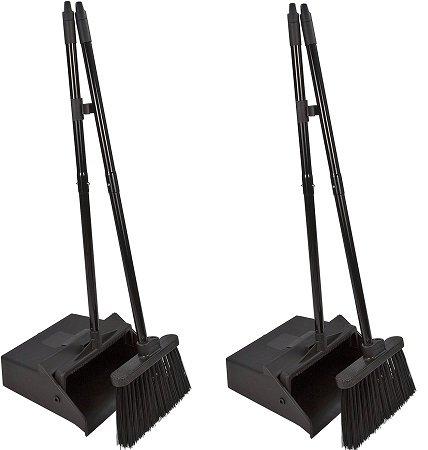 Carlisle 36141503 Duo-Pan Dustpan & Lobby Broom Combo, 3 Foot Overall Height, Black (2-Pack)