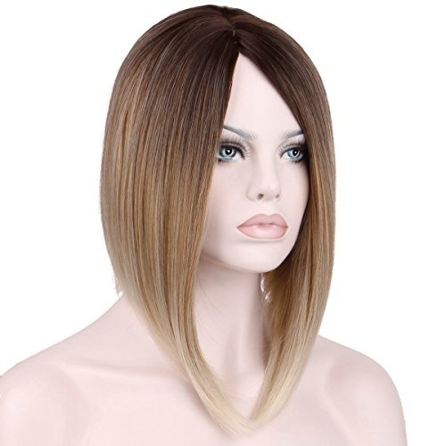 [KeeWig Synthetic A-line Ombre Blonde Wig Long Bob Straight Light Chestnut Brown And Strawberry Blonde With Pale Blonde Tips CHRIS #8/27T613] (Strawberry Wig)
