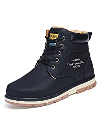 Hangpuzhend Hot Newest Keep Warm Winter Boots Men pu Leather Wear Resisting Casual Shoes