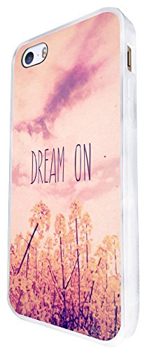 944 - Cool Cute Fun Dream On Quote Pink Shabby Chic Flowers Nature Sky Design iphone SE - 2016 Coque Fashion Trend Case Coque Protection Cover plastique et métal - Blanc
